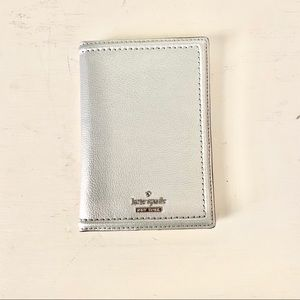 Kate Spade Silver Metallic Passport Wallet